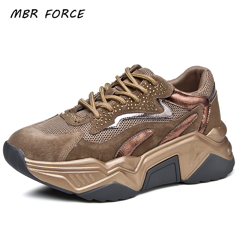 MBR FORCE Sneakers Women's Autumn And Spring Thick Bottom Crystal Straight Fashion Round Head Breathable Mesh Vulcanized Shoes