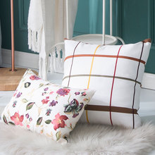 Simple Countryside Style Pillow Cover White coffee lattice Floral Pattern Cushion Home Sofa Bedroom Soft Decor Pillowcase