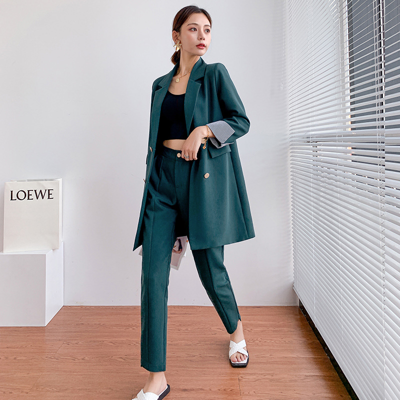 Large size women's L-5XL high quality ladies pants suit two-piece suit Autumn and winter ladies mid-length jacket casual pants