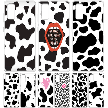 milk cow spot white black Phone Case cover hull For SamSung Galaxy S 6 7 8 9 10 20 Edge Plus E Lite 5G Ultra transparent Etui image