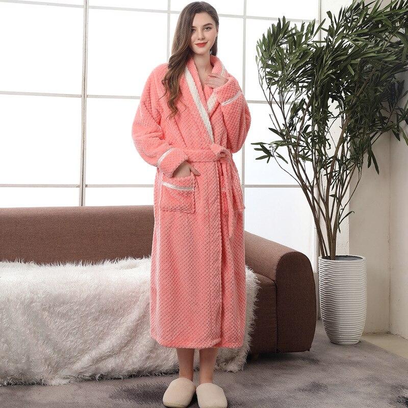 Image 3 - Couple Pajamas 2019 Winter Bathrobe Fashion Long Thick Flannel Couple Bathrobe Loose Plus Size Pajamas Home Clothes Sleepwear