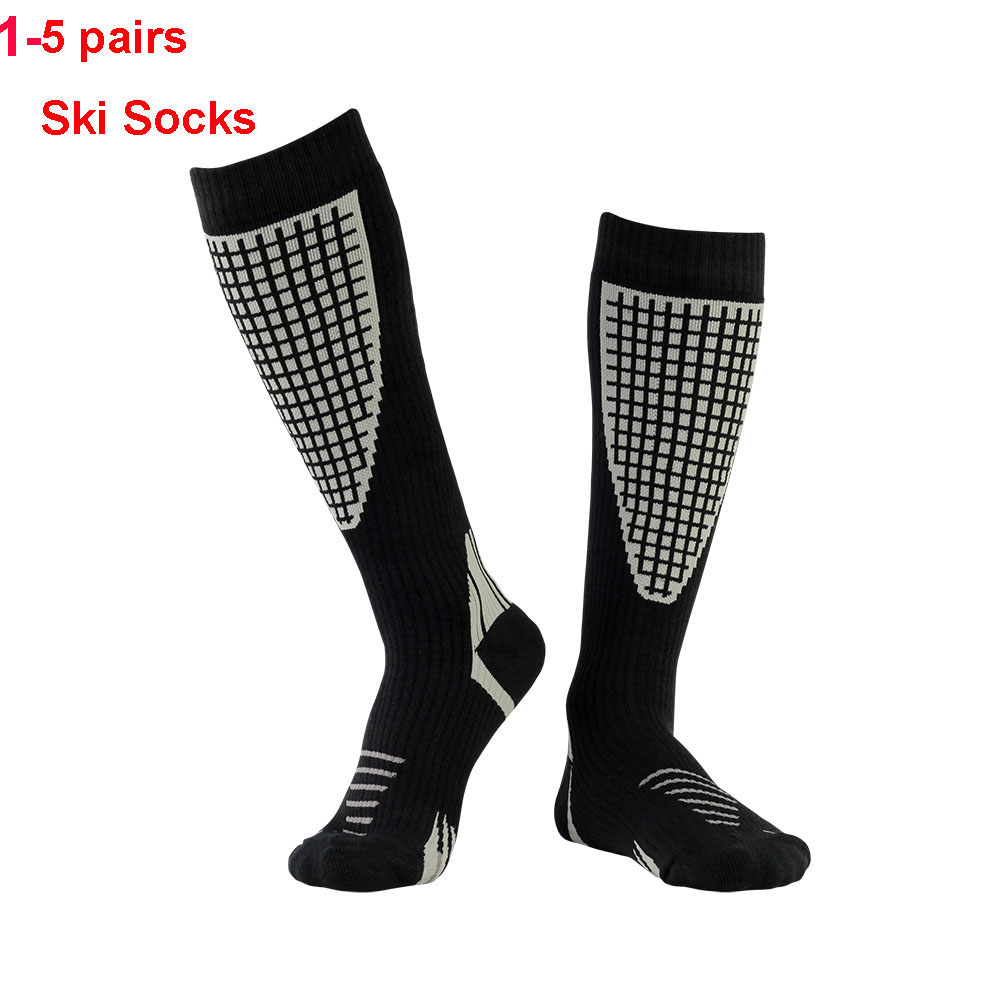 1-5 Pairs Ski Socks Thicken Winter Sports Men Women Long Warm Breathable Outdoors Skiing Snowboarding Thermal Socks