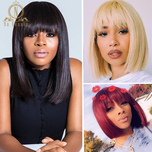 Lace Front Short Bob Wig 613 Blonde Red Colored Human Hair Wigs Straight Fringe Wig With Bangs For Black Women 13x4 Nabeauty 150(China)