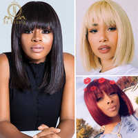 Lace Front Short Bob Wig 613 Blonde Red Colored Human Hair Wigs Straight Fringe Wig With Bangs For Black Women 13x4 Nabeauty 150