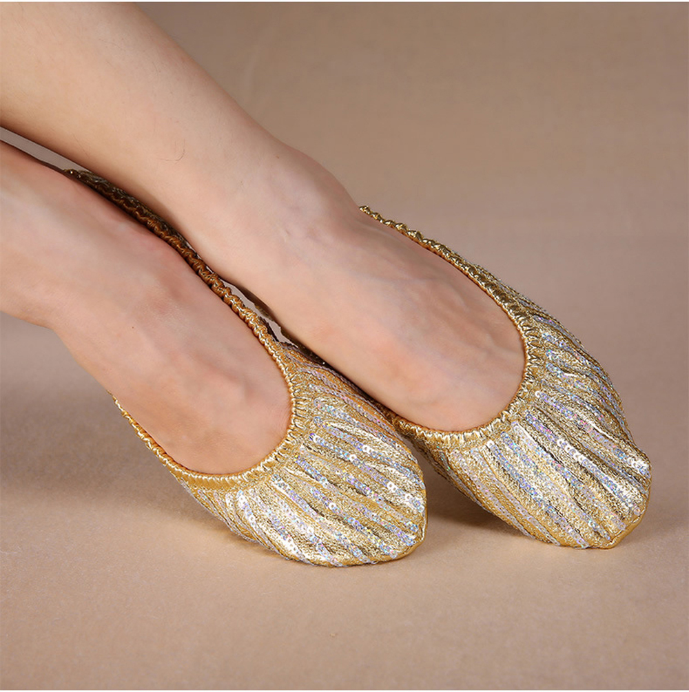 Cheap Wholesale women belly dance shoes lady belly dance accessories for dancer shoes on the stage belly dance sequins shoes
