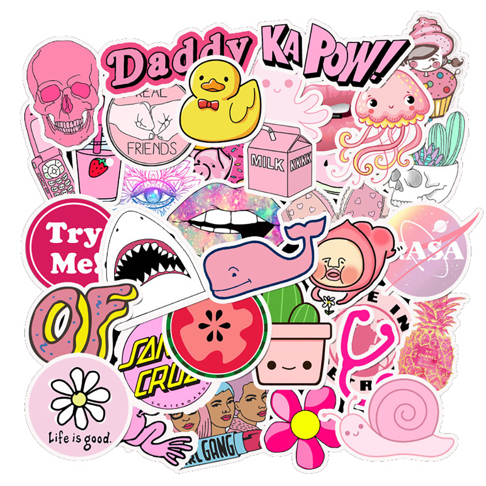 50PCS Cute Pink Style Cartoon Girls Stickers Phone Surfboard Guitar Luggage Laptop Bicycle Fridge Cool Classic Decal Sticker Toy