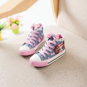 Image 4 - תינוק ילדים סניקרס ילדה קטנה נעלי בד עם תחרה אנטי חלקלק פונקציה עבור בית ספר וקניות