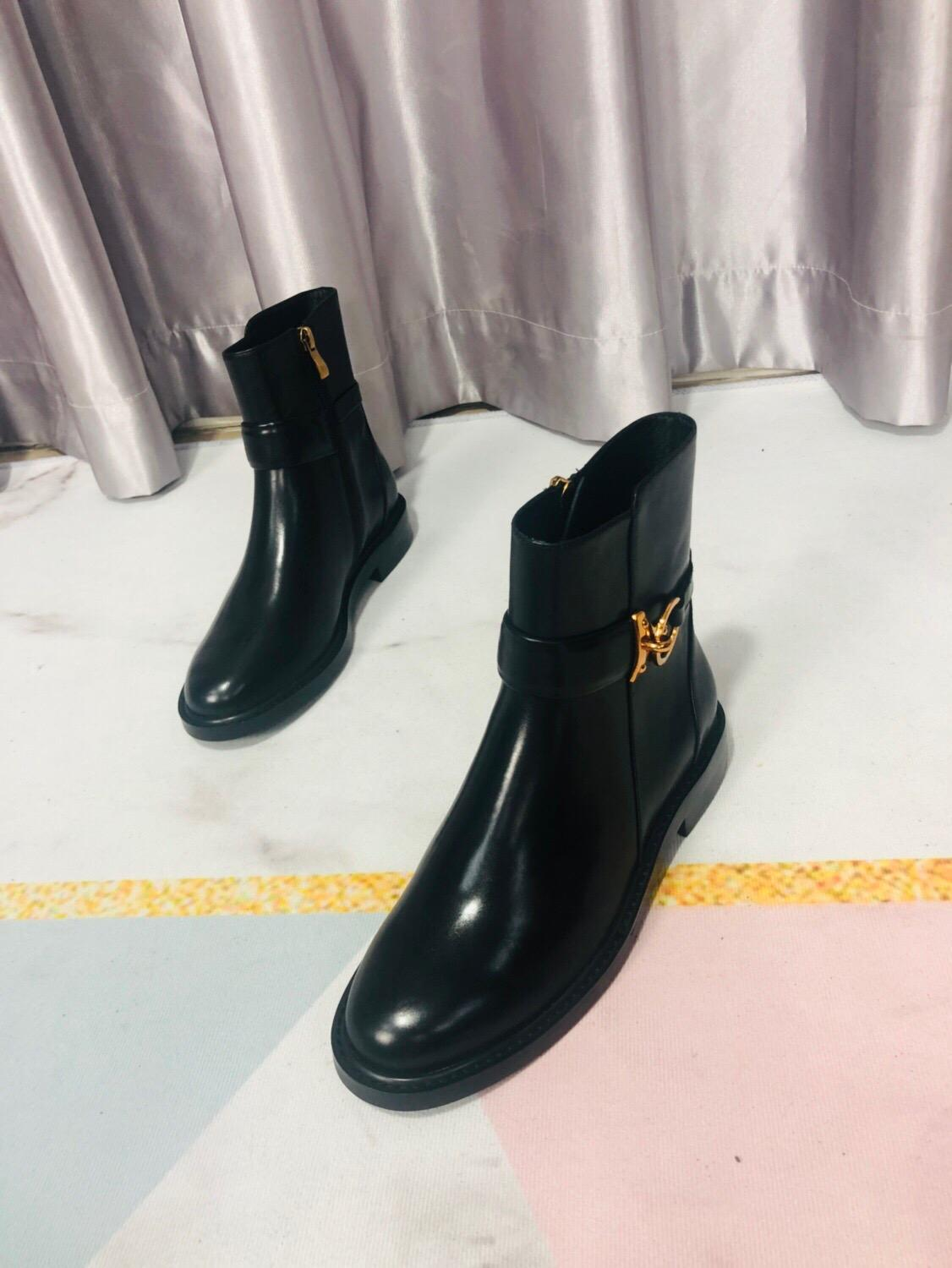 Vibsterimma High Quality Black Leather Gold Ring Ankle Boots Women Genuine Leather Boots Women Flat Side Zip Motorcycle Booties - 3