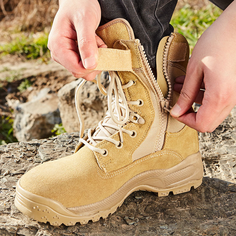 Sandy Color Tactical Boots Hight-top Desert Boots Combat Boots Size Completed Hight-top