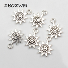 15pcs Charms Sun flower 17*12mm Tibetan Silver Plated Pendants Antique Jewelry Making DIY Handmade Craft 20pcs tibetan silver plated flower connector charms pendants for bracelet necklace jewelry making diy handmade craft 24x18mm