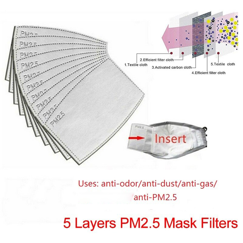10/20/50/100pcs 5 Layers PM2.5 N95 Activated Carbon Filter Face Mask Breathing Insert Protective Mouth Mask Dropship