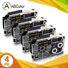 4PK XR-12BKG лента для объектива с оптическими зумом CASIO XR 12BKG запечатанных лент 12 мм золото на черном принтер этикеток клейкая лента для объектив...