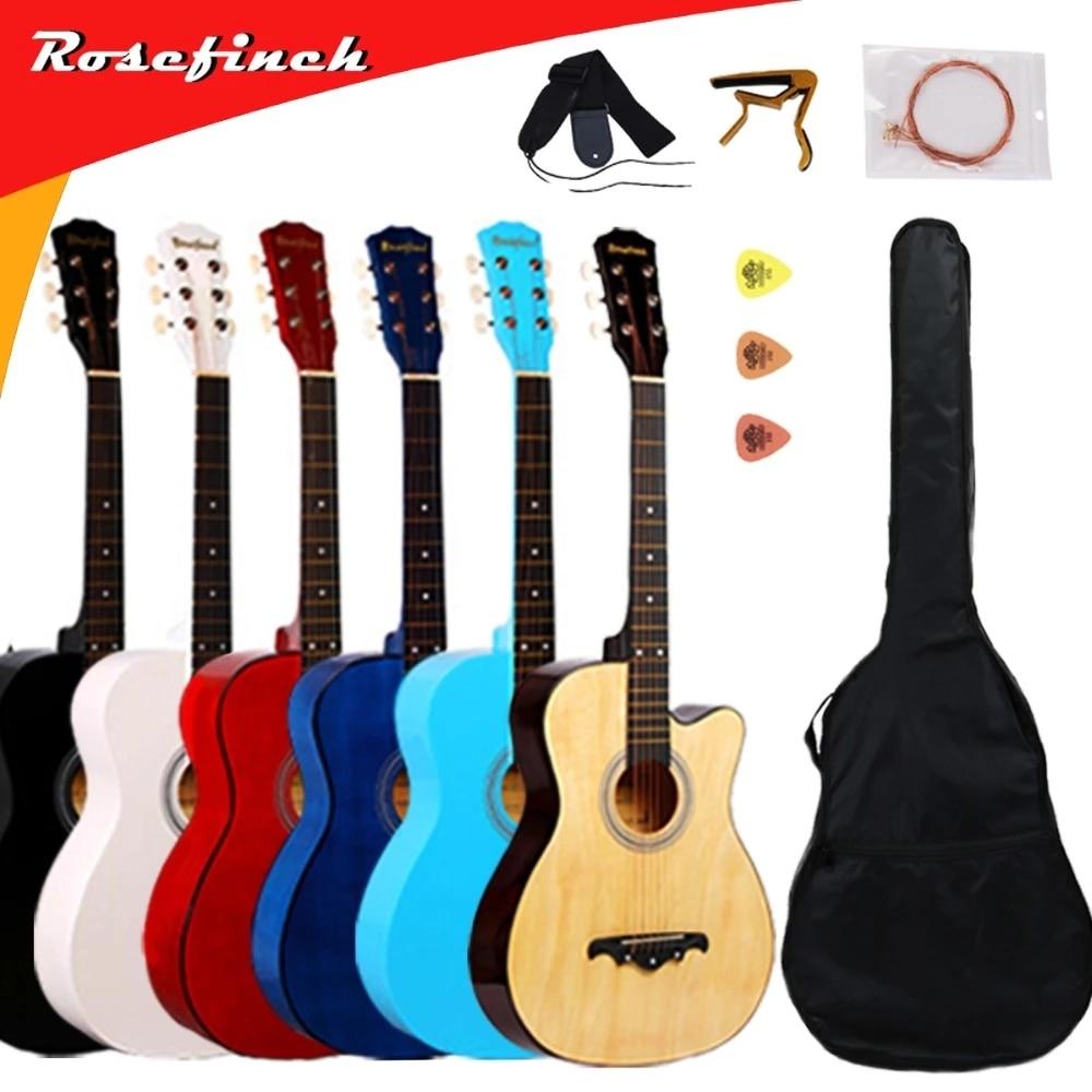 38 pouces guitare acoustique pour débutants ensembles de guitare avec Capo pics 6 cordes guitare tilleul 13 couleurs Instruments de musique AGT166