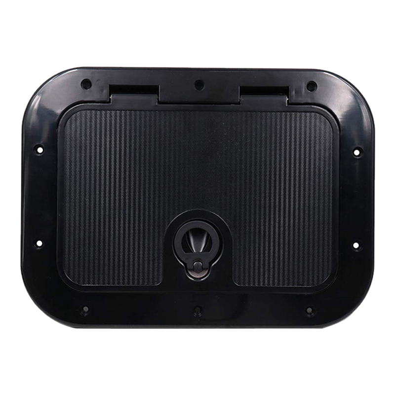 Marine Deck Plate Access Cover Pull Out Inspection Hatch With Latch For Boat Kayak Canoe, 14.96 X 11.02 Inch / 380 X 280mm -Blac
