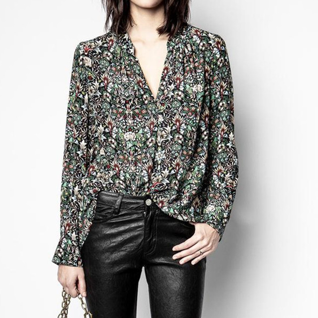 V-neck Shirt Women Long Sleeve Floral Printing Loose Blouse and Top 2021 Spring 1