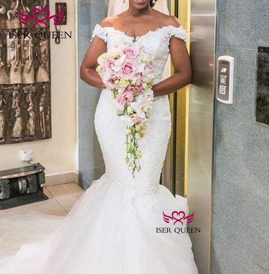 Cap Sleeves Embroidery Mermaid Wedding Dresses Pure White Appliques 2020 Vestido De Novia Bride Gown With Court Train W0392