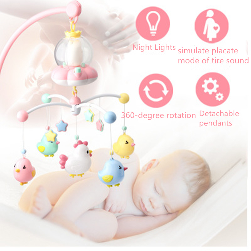 Baby Crib Mobiles Rattles Music Educational Toys Bed Bell Carousel For Cots Projection Sensory Toddler Infant Baby Toys