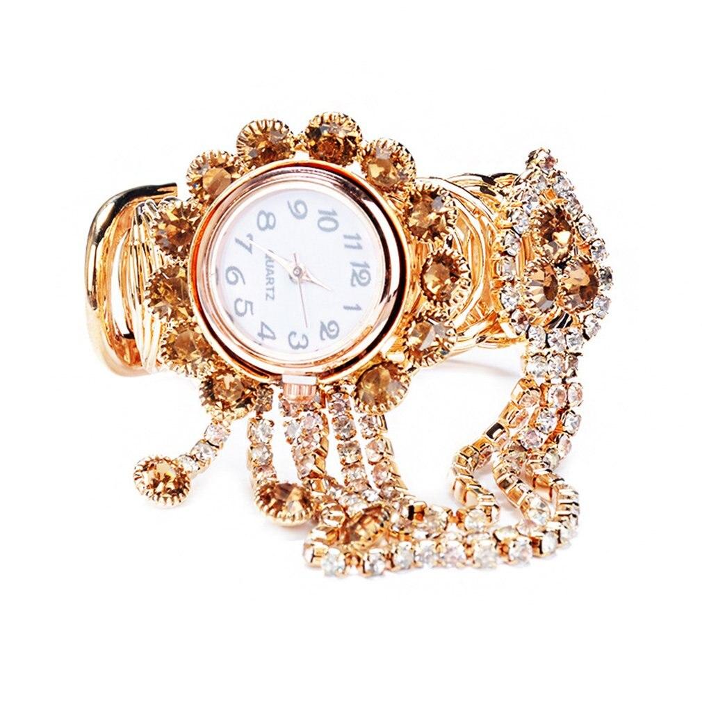 Exquisite Women Bracelet Wrist Watch Crystal Diamond Display Fashion Lady Quartz Watch Women's Diamond Bracelet Watch