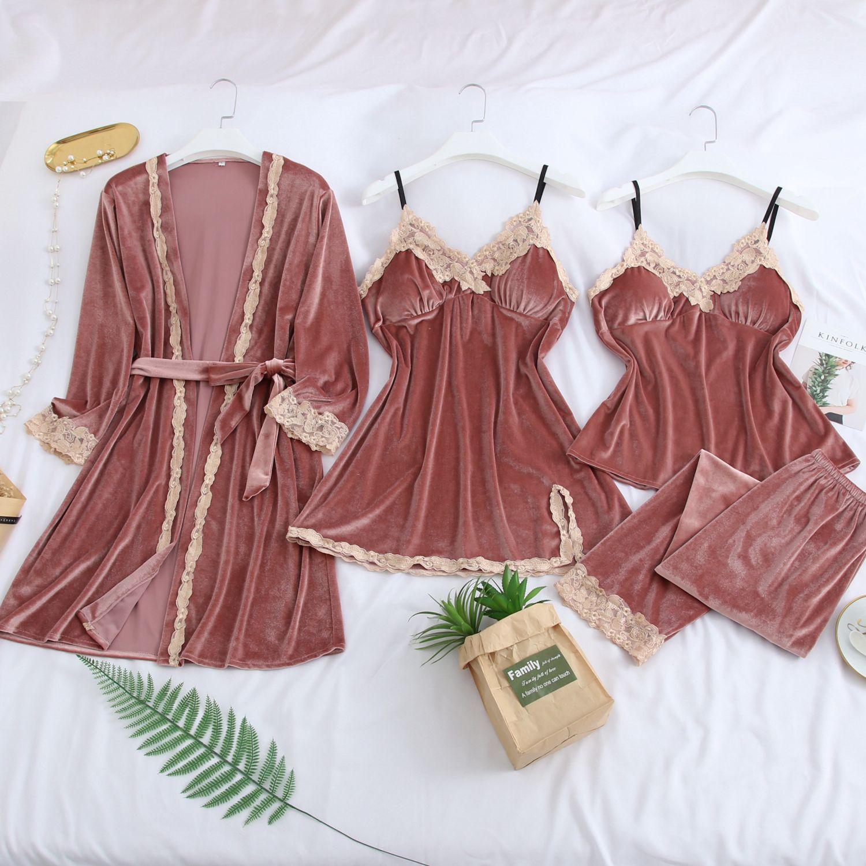 Feier 2019 Warm Winter Pajamas Sets Women Sexy Lace Robe Pajamas  Gold Velvet 4 Pieces Sleepwear Kit Sleeveless Nightwear