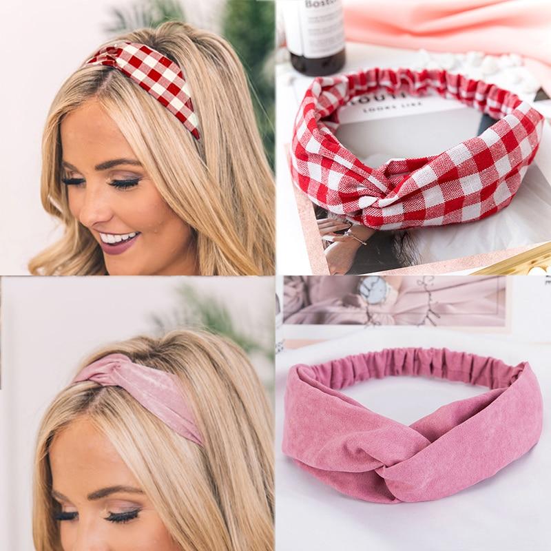 2019 NEW Summer Chiffon Headband Women Hair Accessories Turban Twist Cross Hairband Headwrap Girls Flower Striped Knot Hair Band