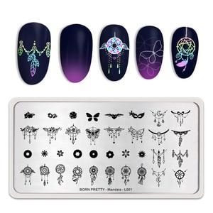 Image 5 - Geboren Pretty Mandala Serie Nail Stempelen Platen Bloemen Rechthoek Nail Art Image Stencil Thema Template