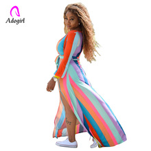 Adogirl Women Summer Striped Long Sleeve Dress Outfits with Sashes Maxi Causal Boho Beach Dresses Plus Size Vestidos