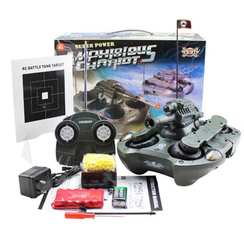 Interruptor de modo tierra y agua del tanque de control remoto con el regalo del niño del juguete del tanque anfibio del disparo al agua - 6