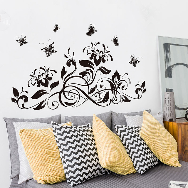 3D Butterfly beautiful Flower Wall Sticker Wall Decals For Kids Room Bedroom Living Room home decor for Sofa TV 3