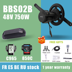 Bafang Mid Drive Motor 48V 750W BBS02B BBS02 8fun Electric Bike Conversion Kit With 18650 Cells 13Ah 17Ah 52V 17.5Ah Battery