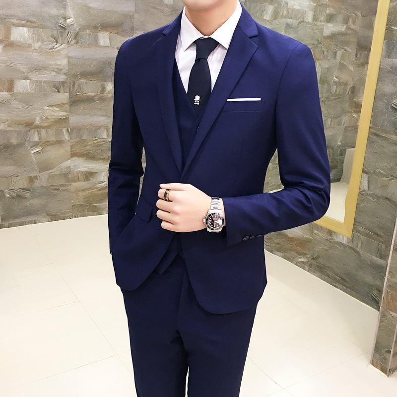 Suit Men Autumn Slim Fit Three-piece Set Groom Wedding Dress Marriage Best Man Suit Men's Wear Formal Wear