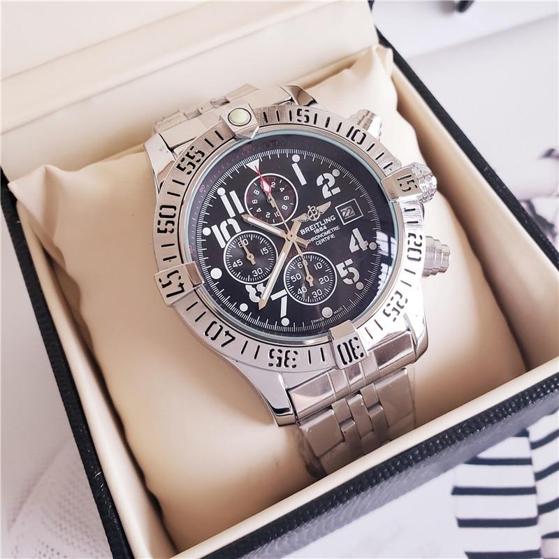 חדש ברייטלינג יוקרה מותג מכאני שעוני יד Mens שעונים קוורץ שעון עם נירוסטה רצועת relojes hombre אוטומטי