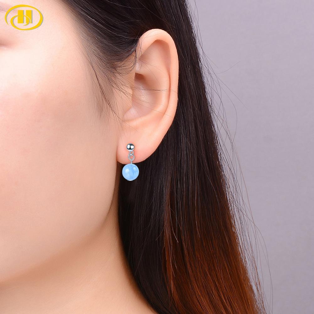 Hutang Gemstones 6mm Aquamarine Dance Stud Earrings Solid 925 Sterling Silver Fine Jewelry For Women Best Friend