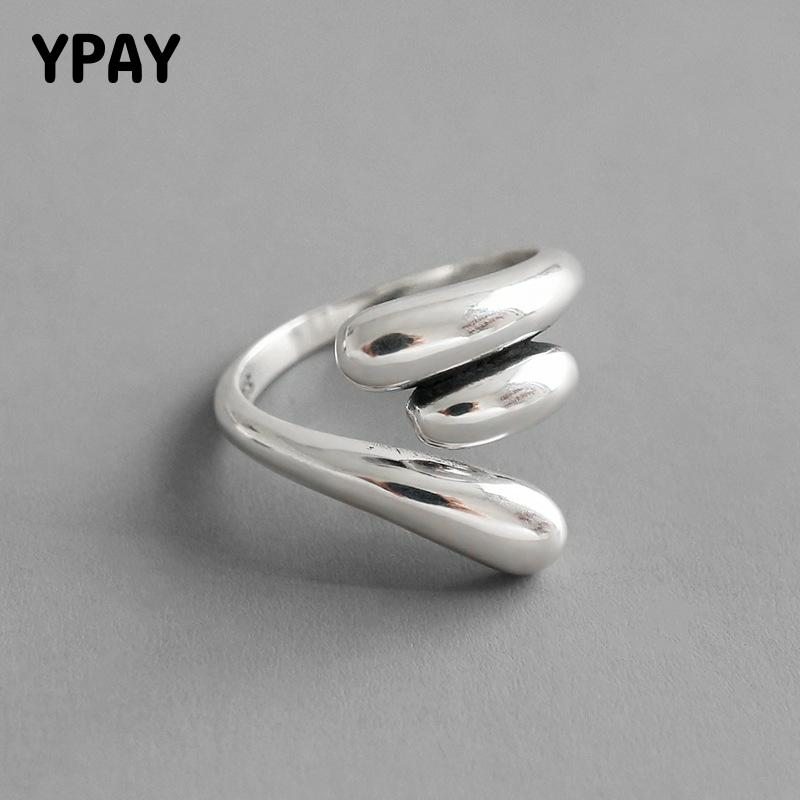 YPAY 100% <font><b>Real</b></font> <font><b>925</b></font> Sterling Silver Open <font><b>Rings</b></font> <font><b>for</b></font> <font><b>Women</b></font> Korea Vintage Water Drop Finger <font><b>Ring</b></font> Bague Fine Jewelry Gifts YMR1017 image