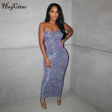 Hugcitar 2020 Sleeveless Slash Neck Backless Sequin Skinny Maxi Dress Autumn Winter Women Fashion Sexy Party Club Clothings