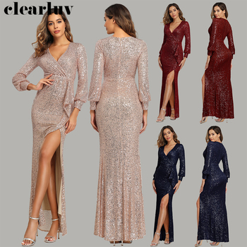 Long Sleeved Evening Dresses Gold Sequins Women Party Dress HQ001 2020 Plus Size Robe De Soiree Sexy High Side Split Formal Gown