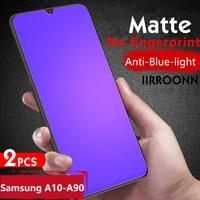 2 unids/lote mate de vidrio templado para Samsung A10 A20 A30 A50 A70 A90 Protector de pantalla para Samsung A31 A51 A71 Anti-Luz Azul de cristal