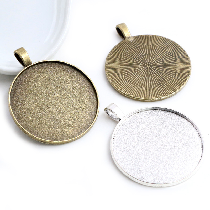 5pcs/lot 35mm Inner Size Antique Bronze And Silver Colors Plated Clasp Style Cabochon Base Setting Charms Pendant
