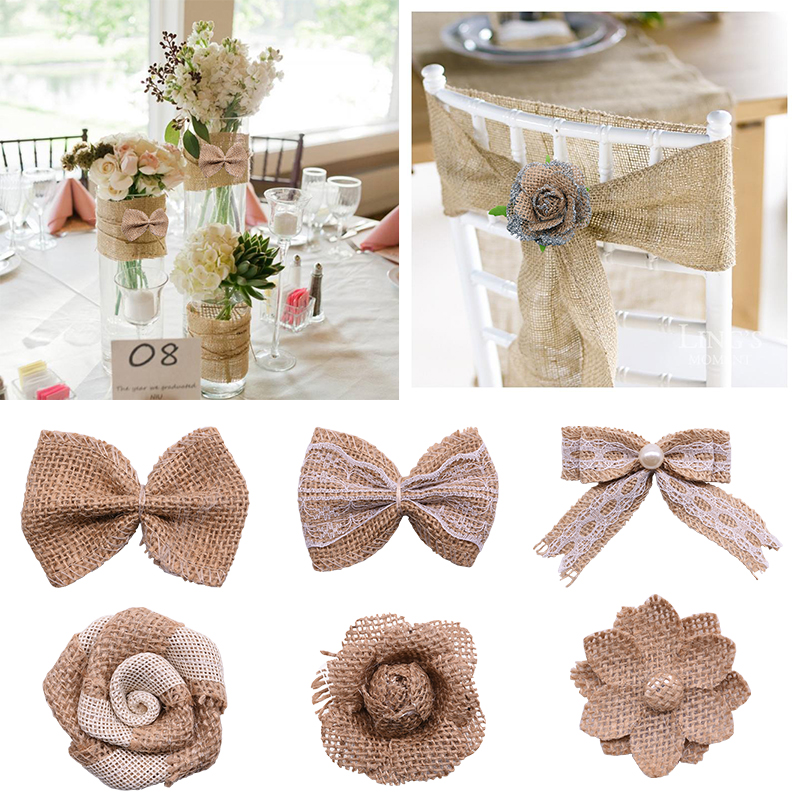DIY Jute Burlap Decorations Vintage Natural Bow Ties Burlap Hessian Flowers Wedding Valentine Decor Supplies