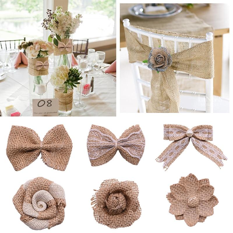 US $10.10 100% OFFDIY Jute Burlap Decorations Vintage Natural Bow Ties  Burlap Hessian Flowers Wedding Valentine Decor SuppliesParty DIY  Decorations -