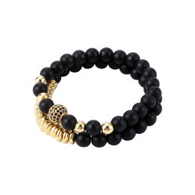 Black Scrub Beaded Bracelet Double Layer Colorful Bracelet Geometric Metal Beads Bangle Women Men Party Jewelry Gift(China)
