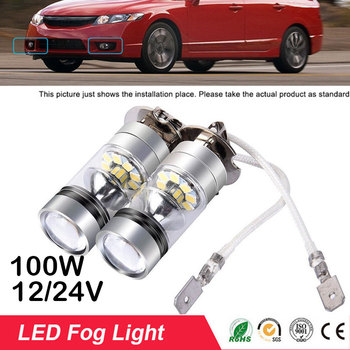 2pcs Car Led Fog Light H3 10000LM 6000K Headlight White Light Fog Lamp Bulb Plug Play Fog Bulb Direct Replaceme 100W Fog Light image