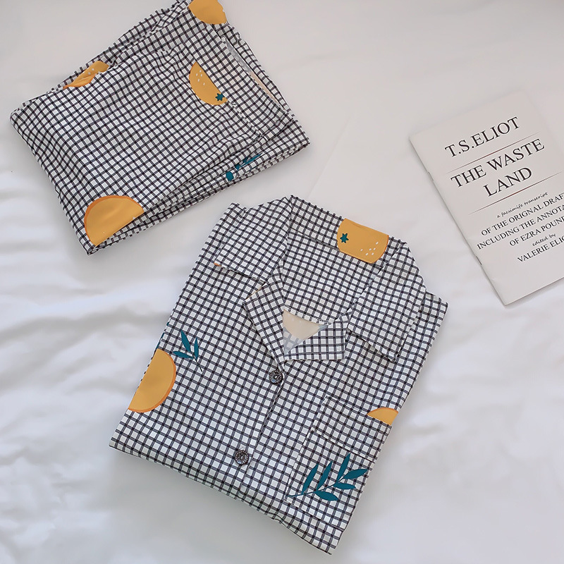 2019 Women Cotton Pajamas Sets with Pants Long Sleeve Turn-down Collar with Pocket Pyjama Cute Cartoon Button Top+Pants Pijama 38
