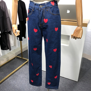 Image 3 - 2020 New Spring Autumn Women Jeans Pants Heart Print High Waist Straight Denim Trousers