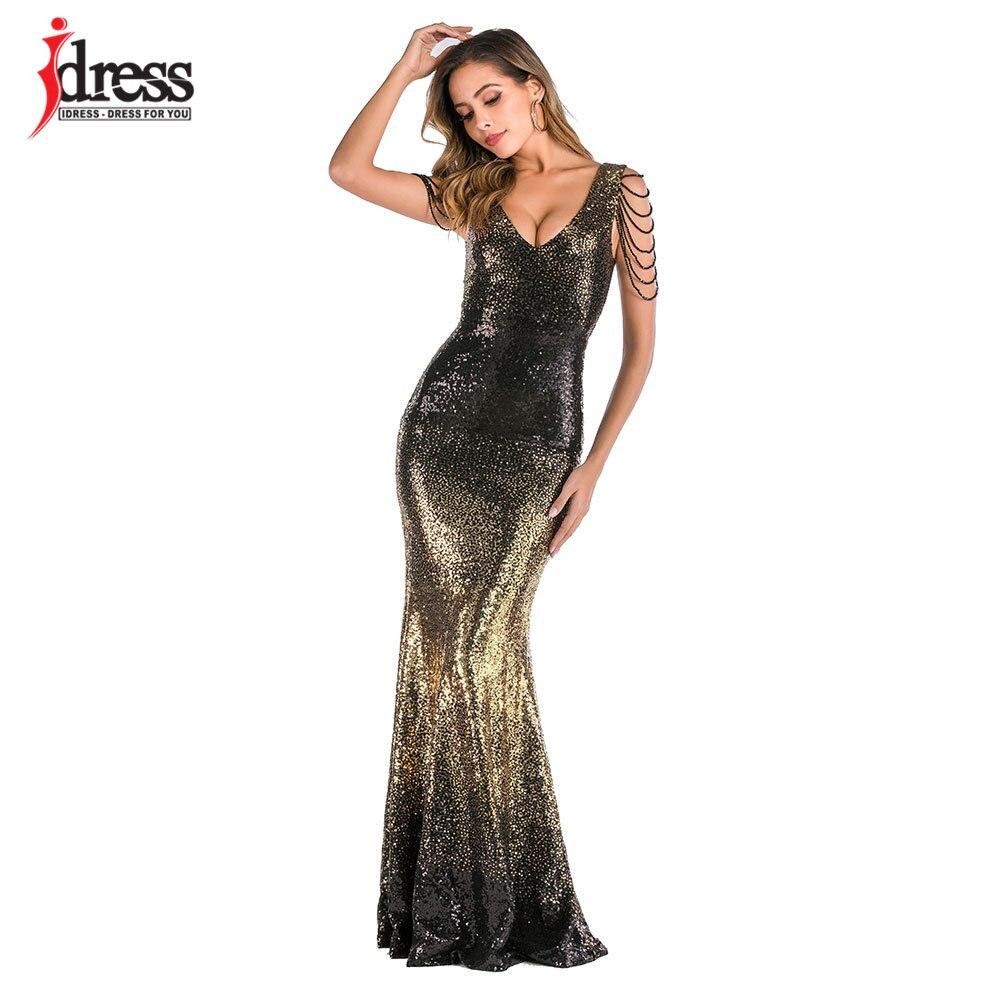 US $17.17 17% OFFIDress Luxus Lange Pailletten Kleid Frauen Maxi Abend  Party Kleid Perlen Vestido De Noche Glanz Party Nacht Club Dame Nacht
