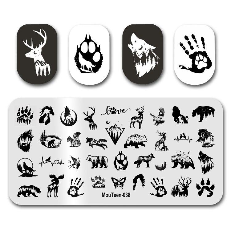 2021 новейшая штамповка для ногтей MouTeen038 силуэт животного леса волк штамповка для ногтей Набор для маникюра штамп для дизайна ногтей