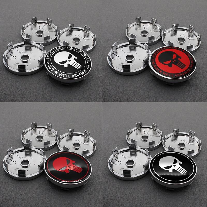 4pcs 56/60MM Punisher Skull Logo Aluminum Alloy Car Wheel Center Hub Caps Aluminum Emblem Badge Sticker Car Styling Accessory