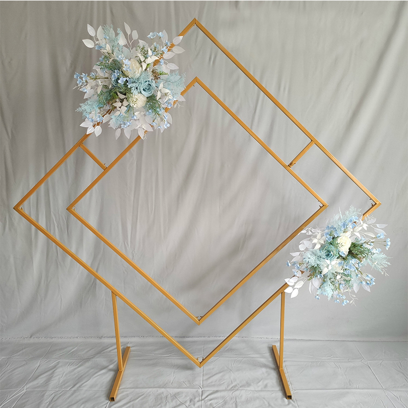 Square Geometric Flower Frame Floral Background Decoration metal flower stand Wedding Diamond Arch Metal Backdrop Stand