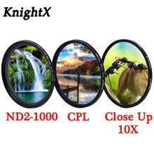 KnightX variable densité neutre réglable ND2 1000 étoile caméra lentille filtre pour canon sony nikon d5100 52mm 55mm 58mm 67mm 77mm