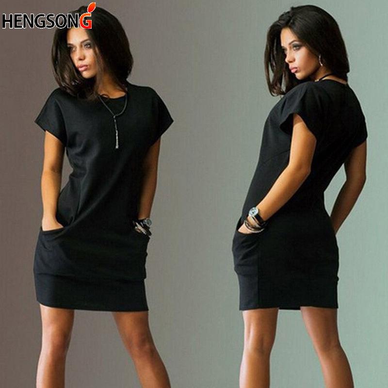 New Women Pocket Loose Casual Female Dress Summer Dress For Women Short Sleeve O Neck Mini Dress Office Lady Work Dress Vestidos