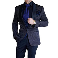 Suits Men 2019 Casual Slim Suit Printed Tuxedo Formal Dress Wedding Suits for Men (Jackets + Pants)